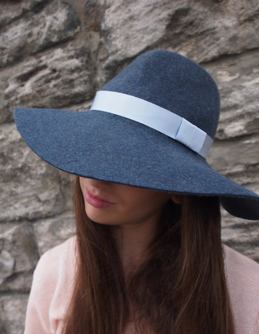 Wool felt designer womens fedora, small medium or large