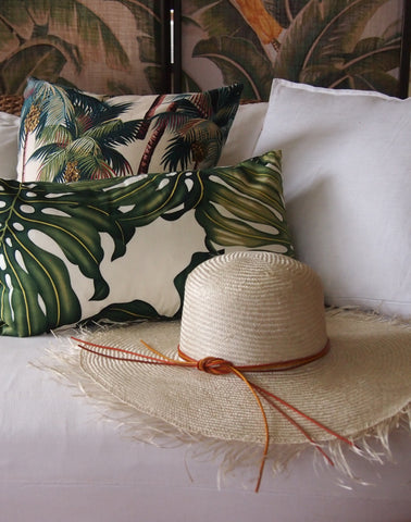"""Summer Breeze"" Straw Hat -  leather tie headband - Womens Resortwear"