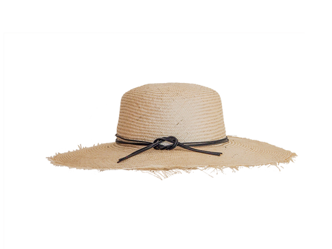 Womens natural straw sun hat, small, medium or large head sizes, black leather tie headband