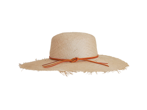 Womens natural straw sun hat, small, medium or large head sizes, tan leather tie headband
