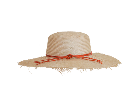 Womens natural straw sun hat, small, medium or large head sizes, orange leather tie headband