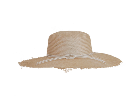 Womens natural straw sun hat, small, medium or large head sizes, white leather tie headband