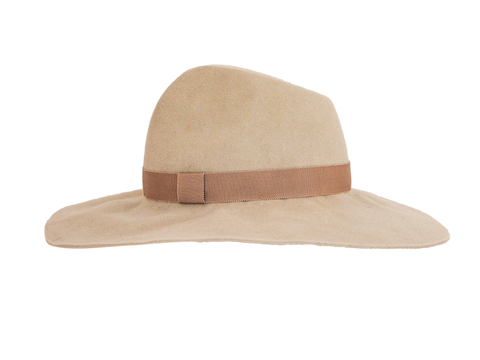 Luxury felt designer fedora womens, small medium or large, alabaster