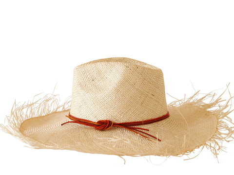 Sun hat, natural straw fedora, large fringed brim, small, medium, large or extra large head sizes, orange leather headband tie