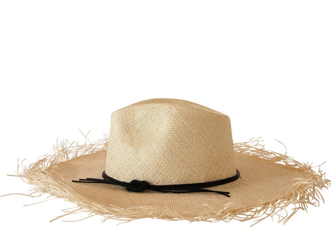 Sun hat, natural straw fedora, large fringed brim, small, medium, large or extra large head sizes, black leather headband tie
