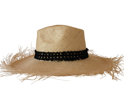 Sun hat, straw fedora, large brim, small, medium, large or extra large head sizes, black raffia headband