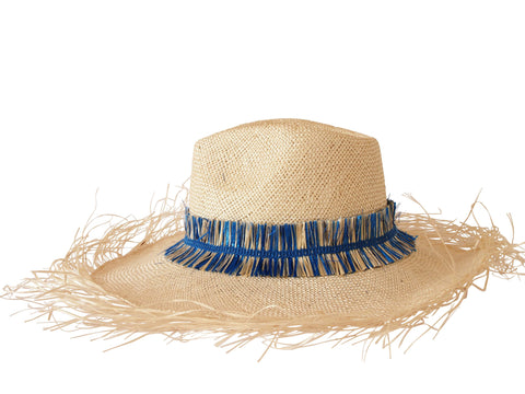 Sun hat, straw fedora, large fringe brim, small, medium, large or extra large head sizes, blue raffia fringe headband