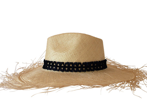 Sun hat, straw fedora, large brim, small, medium, large or extra large head sizes, navy raffia headband