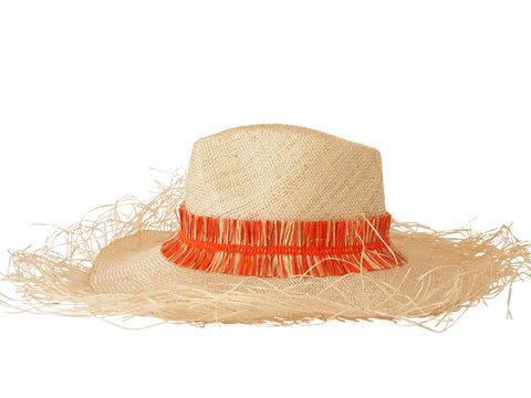 Sun hat, straw fedora, large fringe brim, small, medium, large or extra large head sizes, orange raffia fringe headband