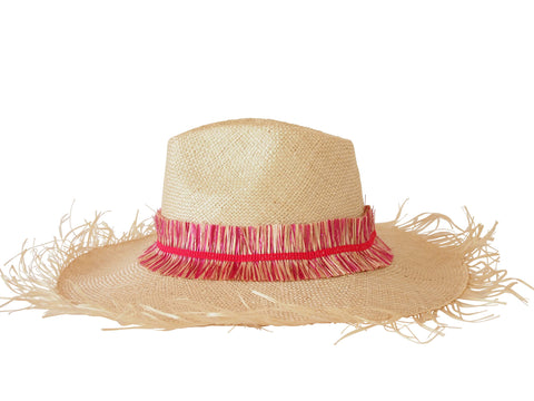 Sun hat, straw fedora, large fringe brim, small, medium, large or extra large head sizes, hot pink raffia fringe headband