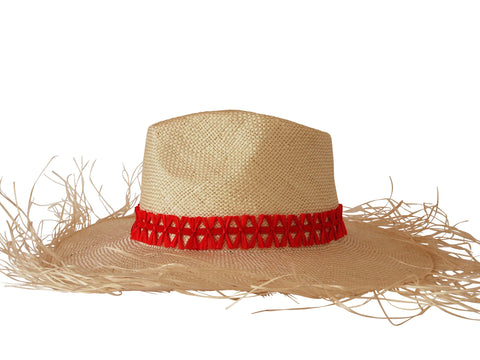 Sun hat, straw fedora, large brim, small, medium, large or extra large head sizes, red raffia headband