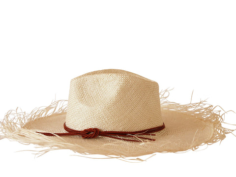 Sun hat, natural straw fedora, large fringed brim, small, medium, large or extra large head sizes, tan leather headband tie
