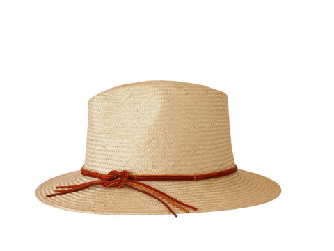 Sun hat, womens straw trilby, small, medium, large or extra large head sizes, orange leather tie headband