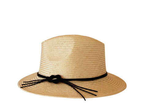 Sun hat, womens straw trilby, small, medium, large or extra large head sizes, black leather tie headband