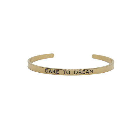Pulseira Mantra Dare to Dream Dourada