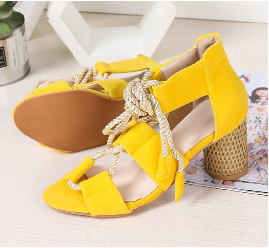 Fish mouth high-heeled colorblock casual plus size sandals-HOT SALE 50% OFF