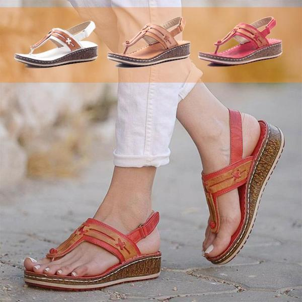 Summer Fashion Hollow Heel Wedge Carved Design Sandals