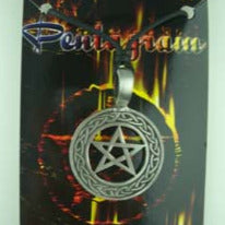 Pentacle pendant on black cord, Pewter