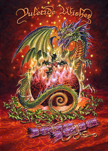 Yule card - Flaming dragon pudding