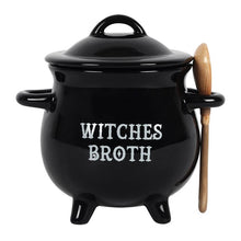 Load image into Gallery viewer, Witches' broth cauldron shaped soup bowl with lid and spoon