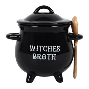 Witches' broth cauldron shaped soup bowl with lid and spoon
