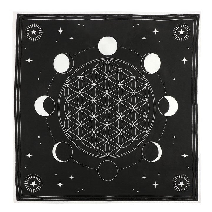 Altar cloth - moon phase crystal grid 70x70cm