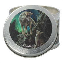 Load image into Gallery viewer, Scented candle tin - Lisa Parker - Guidance wolf - Rose geranium