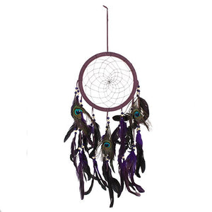 Dreamcatcher - Purple Peacock feathers 22cm