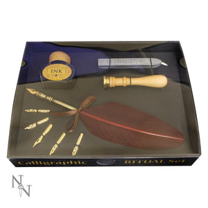Calligraphic ritual set - Quill, ink, seal, wax