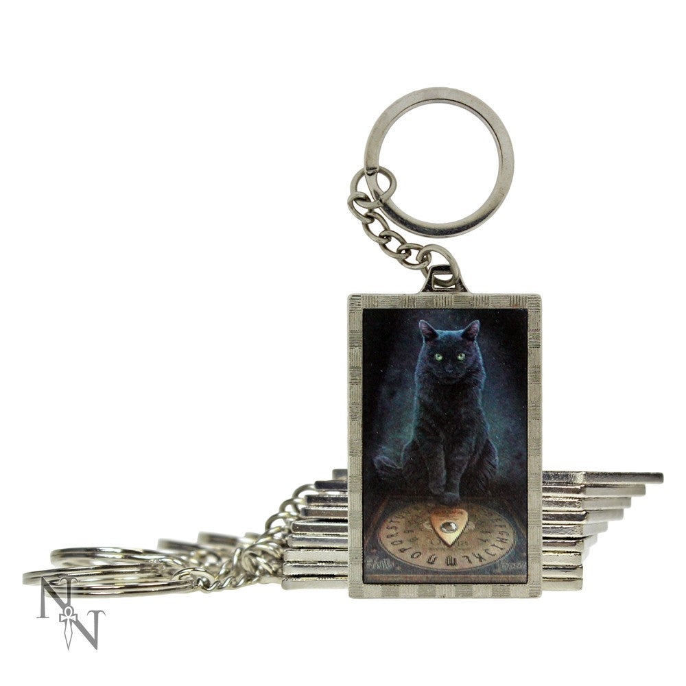 Metal keyring -  His masters voice cat 3D pic
