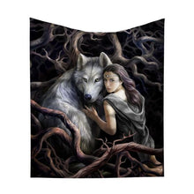 Load image into Gallery viewer, Throw - Soul bond wolf - Velvet +fleece 160cm