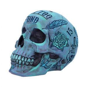 Skull - Tattoo fund money box (blue) 18cm