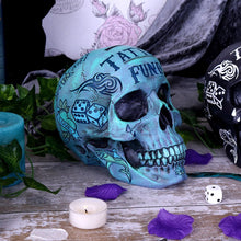 Load image into Gallery viewer, Skull - Tattoo fund money box (blue) 18cm