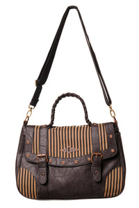Brown stripe steampunk handbag - Banned alternative wear