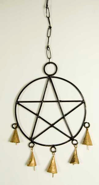 Hanging pentagram decoration with bells 45cm