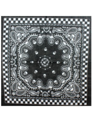 Bandana - chequered with skulls