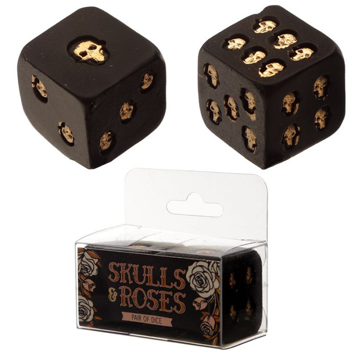 Set of 2 Black and Gold Skull Dice,  Skulls and Roses