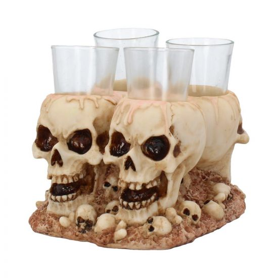 Shot dead - skull shot glasses & holder