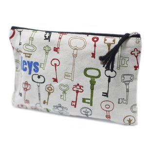Large thick cotton zip pouch - keys