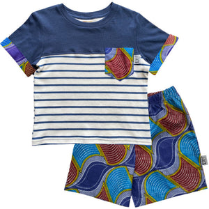 Boys ethnic waves wax top and shorts set