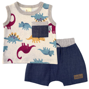 Boys Melange Dino vest and shorts set
