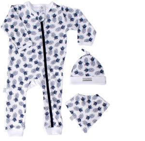Baby grow set with bib and beanie Navy