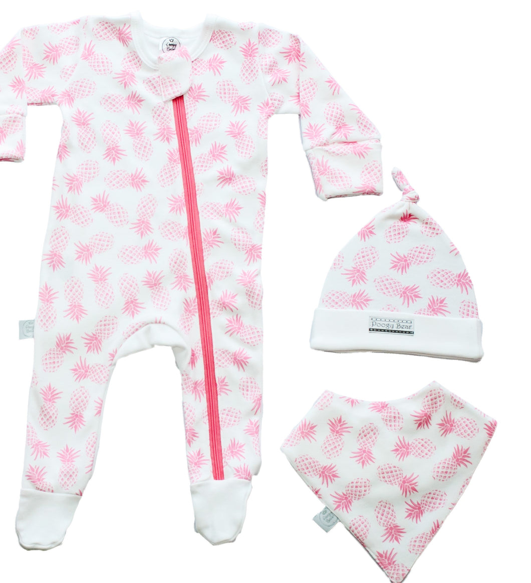Baby grow set with bib and beanie pink