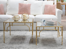 Load image into Gallery viewer, S/2 Mirrored Gold Bamboo Nesting Tables