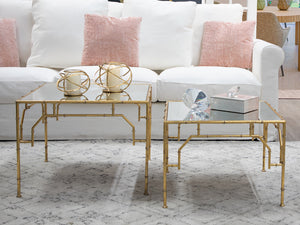 S/2 Mirrored Gold Bamboo Nesting Tables