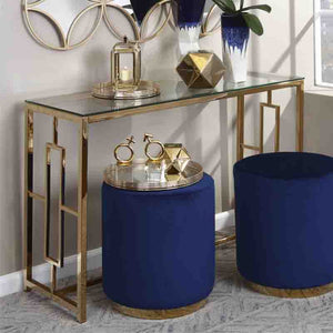 Gold Metal/Glass Console Table