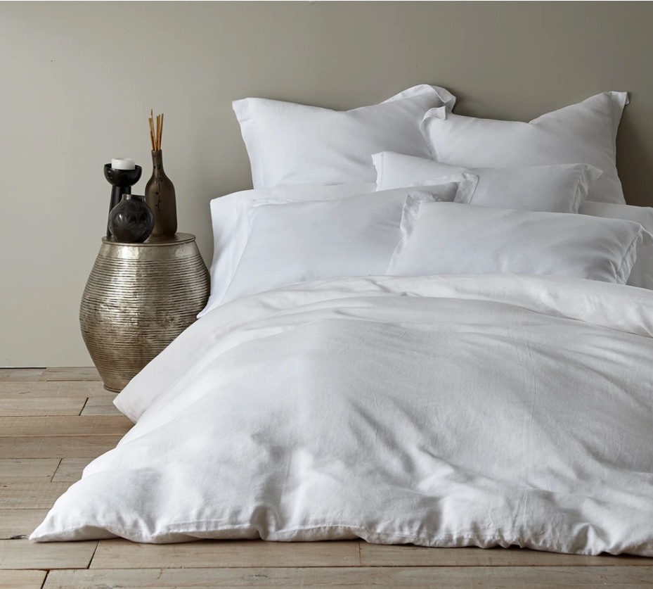 Washed Linen Duvet-White King