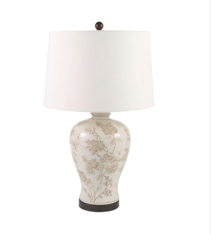 Ivory Floral Ginger Jar Lamp