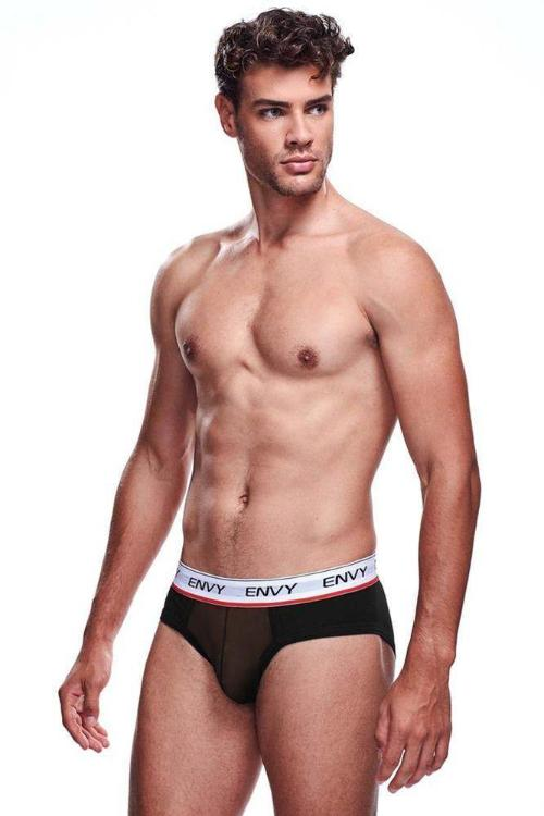 Black Brief with Mesh Pouch-Tasteful Desires Adult Shop