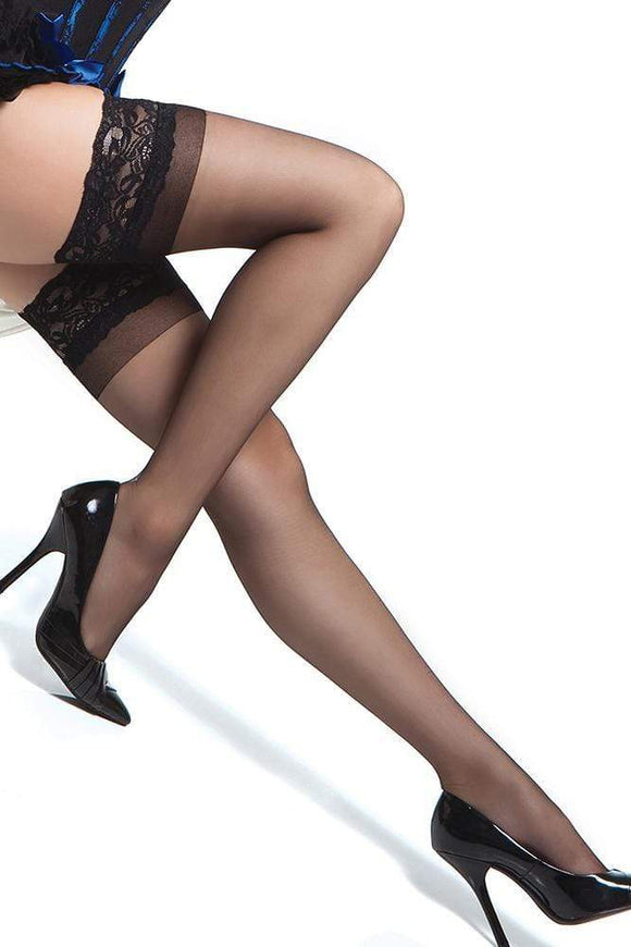 Sheer Thigh Highs with Silicone Grip Black-Tasteful Desires Adult Shop